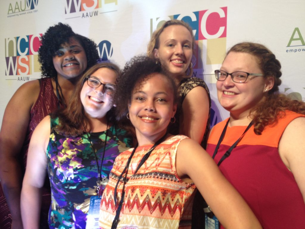 AAUW student affliates from Lock Haven University attend the National Conference for College Women Student Leaders (NCCWSL), 2016.