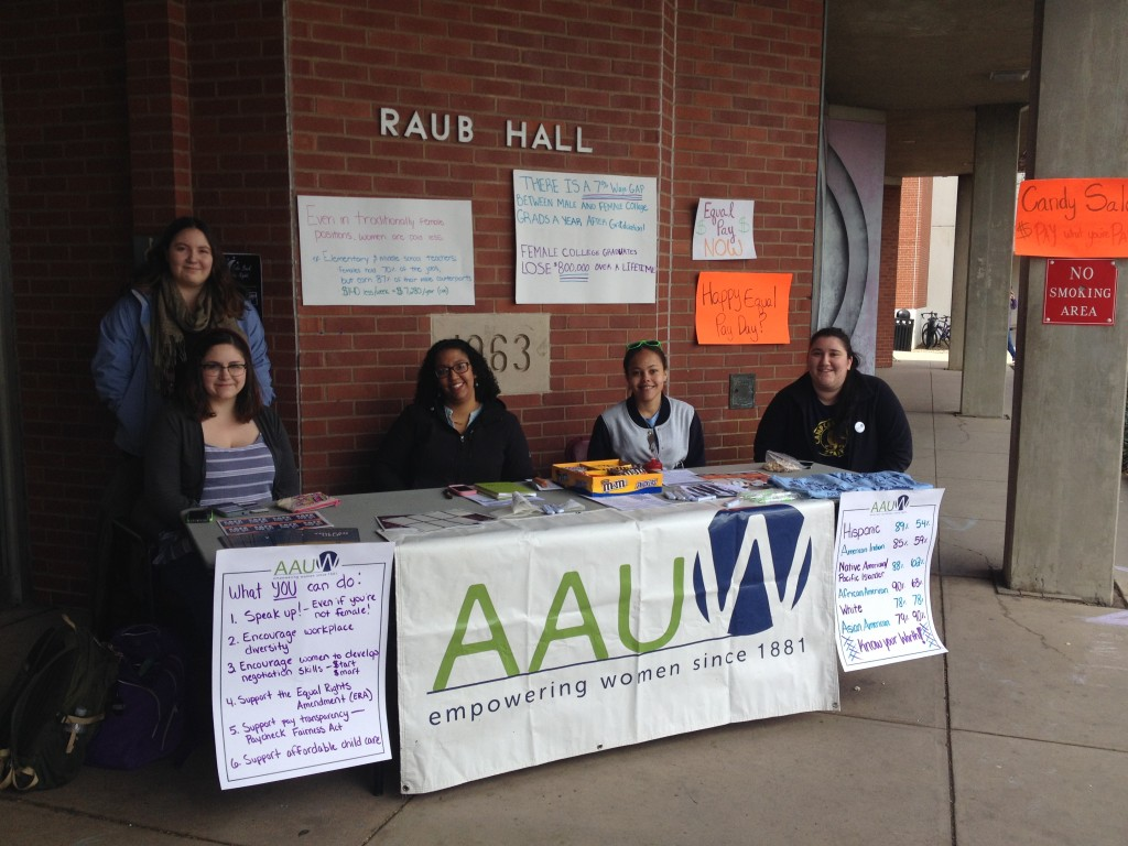 AAUW student affiliates host an Equal Pay Day candy sale at Lock Haven University.