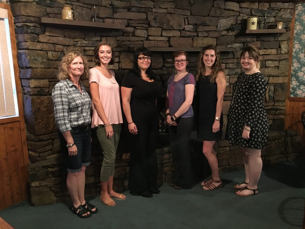 2016 AAUW Lock Haven scholarship winners. From left to right are Educational Foundation co-chair, Dr. Julie Story, Rebecca Eaton, Jennifer Lange, Lana Kephart, Stephanie Walizer, and Brenna Tripp.